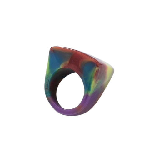 Rainbow Resin Statement Ring