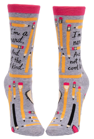 I'm A Nerd Women's Crew Socks, Hipster/Nerdy/Geeky/Trendy, Colorful Funny Novelty Socks with Cool Design, Bold/Crazy/Unique Quirky Dress Socks