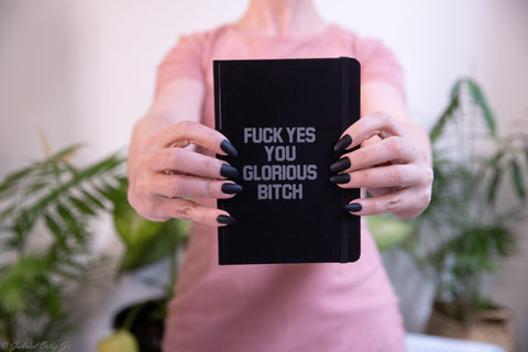 Fuck Yes You Glorious Bitch Slim Journal Notebook in Black and Silver