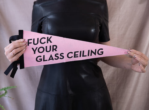 Fuck Your Glass Ceiling Blush Pink Pennant with Black Trim