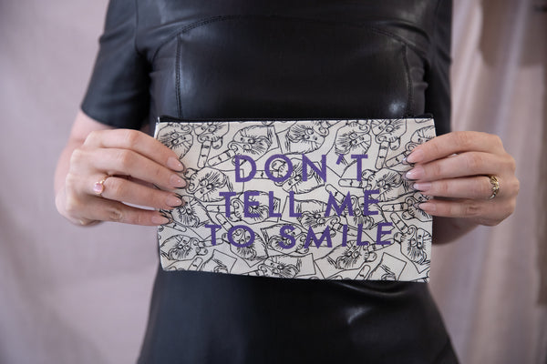 Don't Tell Me To Smile Black White Purple Lettering Recycled Cotton Canvas Cute/Cool/Unique Zipper Pouch/Bag/Clutch/Cosmetic Bag