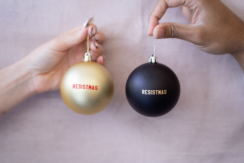 Resistmas Holiday / Christmas Ornament in Gold and Black 2-Pack