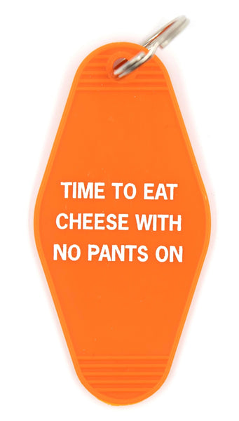 Time To Eat Cheese with No Pants On Motel Style Keychain in Yellow