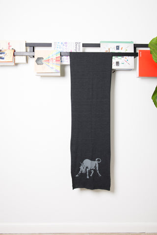 Hand Silk-Screened Bullicorn Scarf in Green, Coffee, or Black