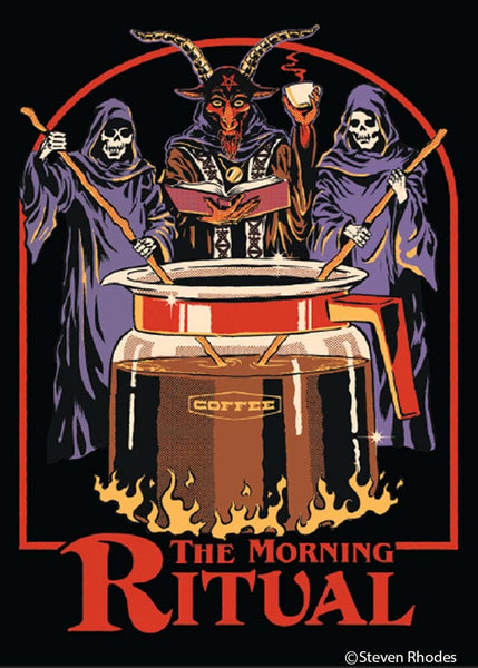 The Morning Ritual Rectangular Magnet | Occult Coffee Humor