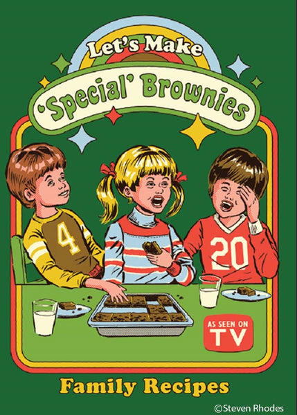 Let's Make 'Special' Brownies Family Recipes Rectangular Magnet | '80s Children's Book Style Satirical Art