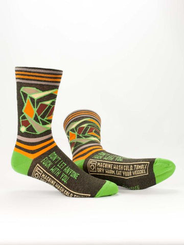 Don't Let Anyone Fuck With You Men's Power Crew Socks Hipster/Nerdy/Geeky/Trendy, Funny Novelty Socks with Cool Design, Bold/Crazy/Unique Green Pattern Dress Socks