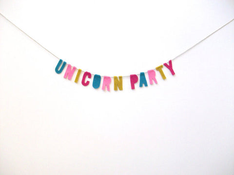 Unicorn Party Felt Party Banner in Pastel Rainbow