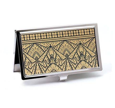 Empire Art Deco Business Card Case in Gold and Black