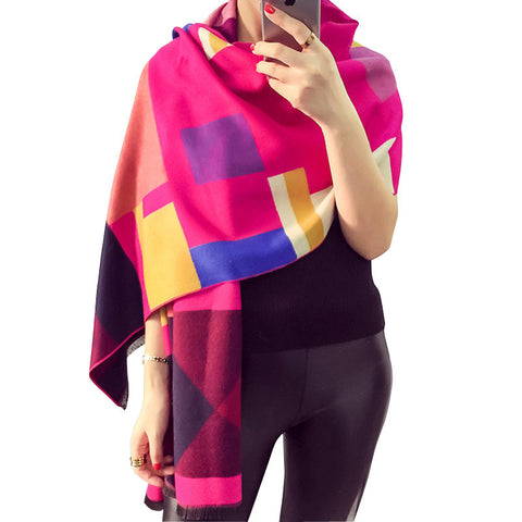 Cold AF in the Office Geometric Cashmere-Blend Wrap