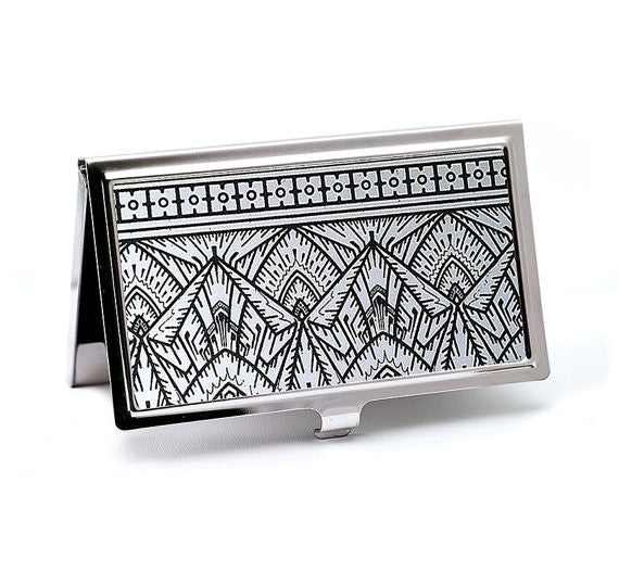 Empire Art Deco Business Card Case in Silver and Black