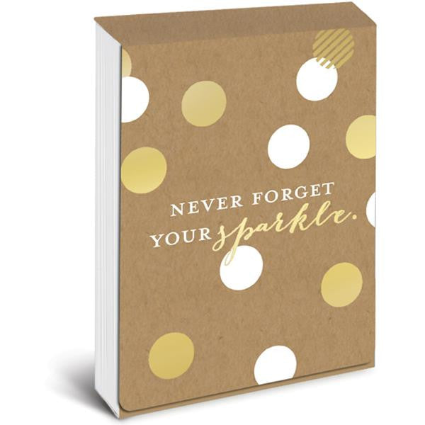 Never Forget Your Sparkle Pocket Note in White and Metallic Gold