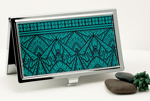Art Deco Business Card Case in Bold Teal and Black