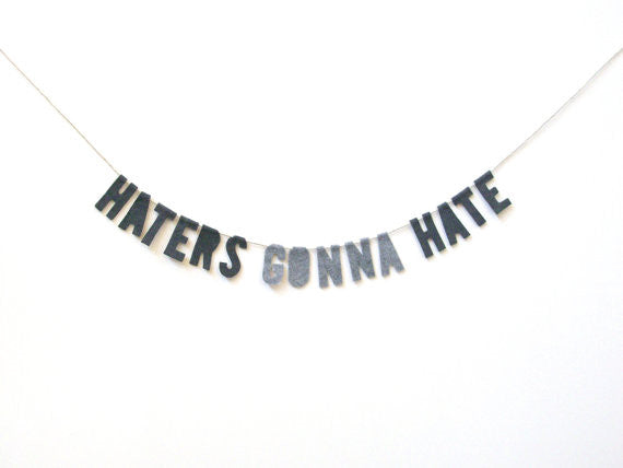 Haters Gonna Hate Felt Party Banner in Marbled Gray