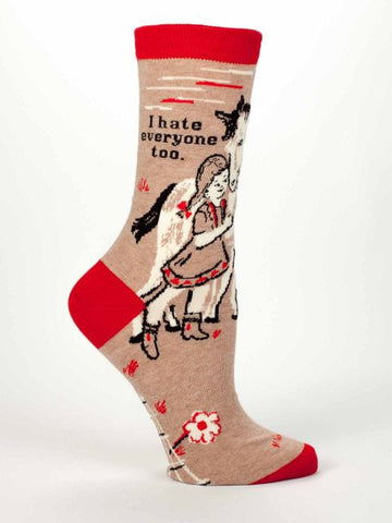 I Hate Everyone Too Women's Crew Socks, Hipster/Nerdy/Geeky/Trendy, Funny Novelty Socks with Cool Design, Bold/Crazy/Unique Specialty Dress Socks