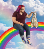 Shitting Rainbows Kind of Day Women's Crew Socks, Hipster/Nerdy/Geeky/Trendy, Colorful Funny Novelty Socks with Cool Design, Bold/Crazy/Unique Quirky Dress Socks
