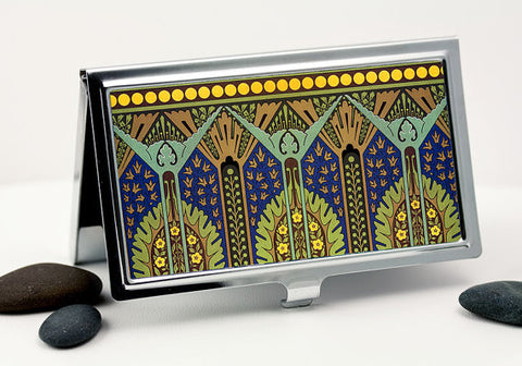 Egyptian Revival Art Deco Business Card Case in Deep Sapphire Blue and Green