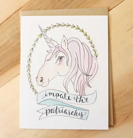 Impale the Patriarchy Feminist Unicorn Card