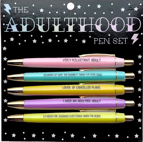 Adulthood Pen Set In Pastels | 5 Ballpoint Pens on Gift Card | Very Reluctant Adult, Growing Up Was The Dumbest Thing I've Ever Done, Lover of Cancelled Plans...