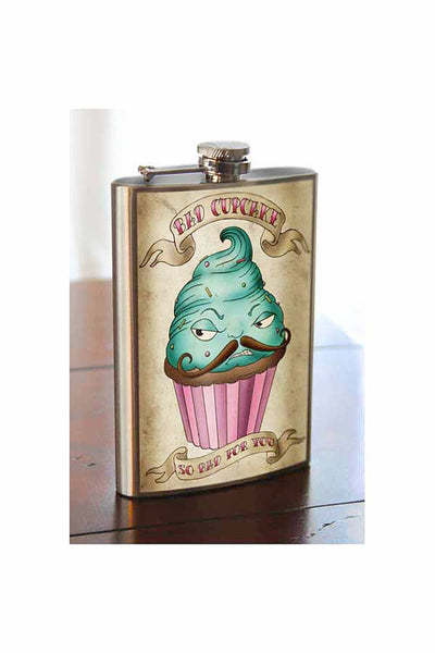Bad Cupcake Stainless Steel Flask - 8oz.