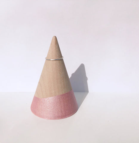Light Pink and Wood Hand Painted Ring Holder | Handmade | Minimalist Geometric Design