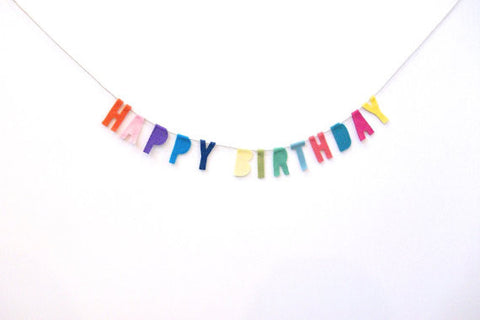Happy Birthday Felt Party Banner in Funfetti Multicolor
