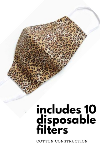 Reusable Cotton Face Cover with 10 Disposable Filters | Leopard Print Unisex