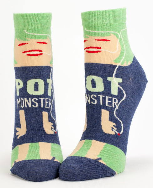 Pot Monster Women's Ankle Socks, Hipster/Nerdy/Geeky/Trendy, Funny Novelty Socks with Cool Design, Bold/Crazy/Unique Half Dress Socks