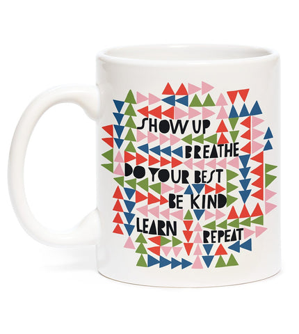 Lisa Congdon Show Up, Breathe, Be Kind Mug | Printed on Both Sides | Boxed for Gifting