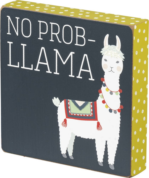 No Prob-Llama Wooden Block Sign with Polka Dots