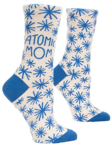 Atomic Mom Women's Crew Socks, Hipster/Nerdy/Geeky/Trendy, Blue Funny Novelty Socks with Cool Design, Bold/Crazy/Unique Quirky Dress Socks