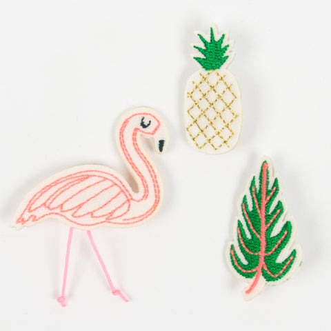 Tropical Brooches in Flamingo, Pineapple and Leaf Designs