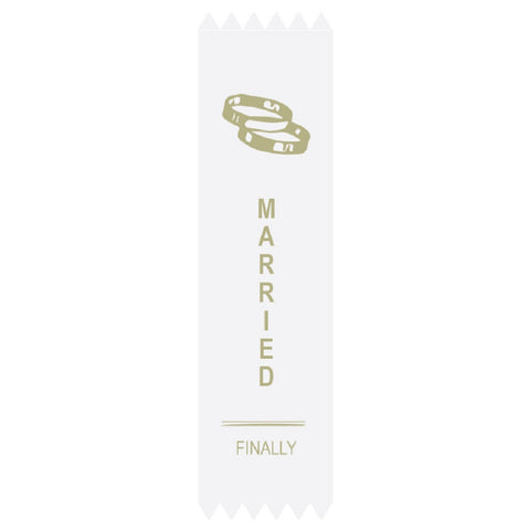 Married Finally Adulting Award Ribbon on Gift Card
