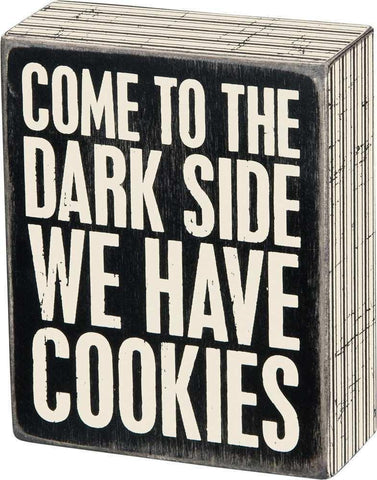Dark Side Wooden Box Sign, Funny/Rustic/Modern Quote Wall Art, Living/Dining/Bedroom, Cute Farmhouse Decor