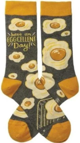 Egg-Cellent Socks with Eggs Design in Yellow and Gray