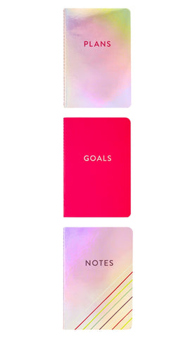 Set of 3 Iridescent / Pink Pocket Journals: Plans, Notes, Goals