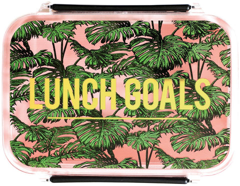 Lunch Goals Lunch Box in Tropical Leaves