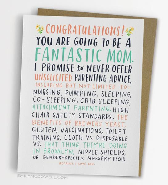 Unsolicited Advice New Mom Card The Bullish Store