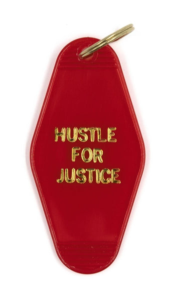 Hustle for Justice Motel Keychain in Translucent Red