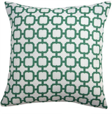 "Emerald Geo 16"" Pillow Cover in White and Green"