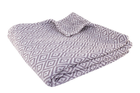 Lavender Damask Ikat Cotton Yarn Throw