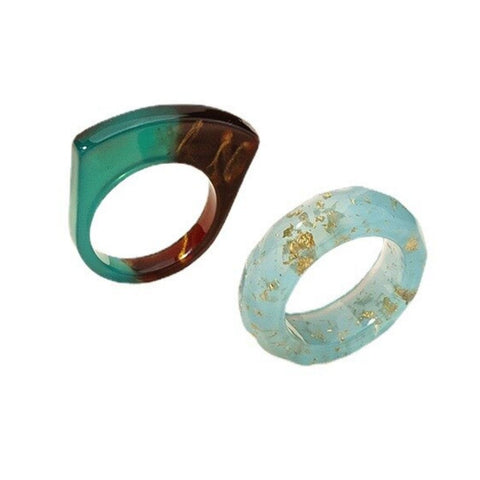 Nature's Splendor Resin Ring Mismatched Set of 2