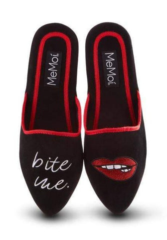 Bite Me Embroidered Lounge Slippers in Black and Red with Lips Design | House Shoes | Sexy Lady Slip-On Indoor Slides