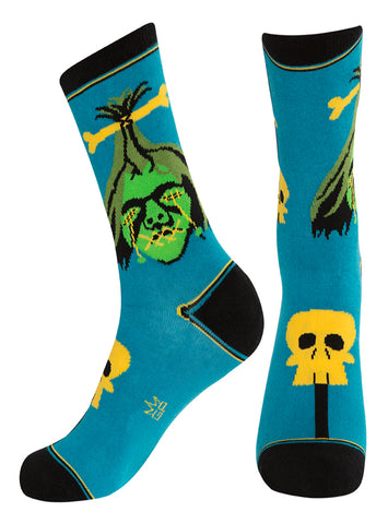 Shrunken Head Dress Crew Socks in Teal and Black