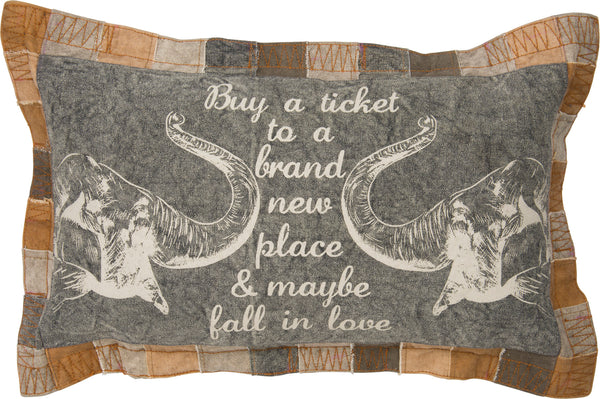 Buy A Ticket Fall in Love Large Canvas Throw Pillow