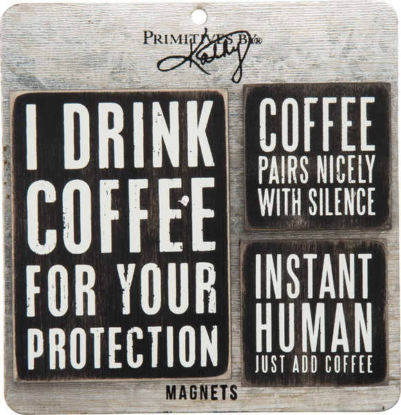 Coffee Magnet Set in Black with White Lettering