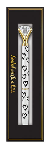 "Heart Gem Pen in Gift Box | Jewel-Topped Gift Pen | Box Reads ""Sealed with a Kiss"""