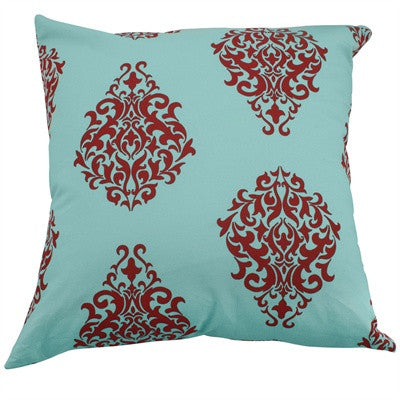 "Lush Medallion 18"" Pillow Cover in Aqua and Vermillion"