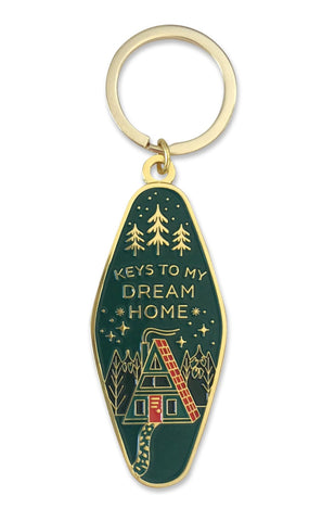 Dream Home Keychain in Gold and Green