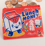 Lunch Money Recycled Material Cool Small/Mini Zip Coin/Change Purse/Bag/Pouch/Wallet